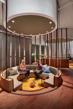 This Office's Interior Design Included Plenty Of Semi-Private Circular Seating Areas Workplace Ideas – The design of this modern communal sunken seating was inspired by Fairy Rings f Commercial Interior Design, Office Interior Design, Commercial Interiors, Office Interiors, Commercial Architecture, Office Designs, Architecture Office, Design Scandinavian, Best Office