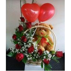 Basket of Red Roses, a Teddy Bear, and a Balloon Cebu City, Red Roses, Balloons, Basket, Teddy Bear, Globes, Balloon, Teddy Bears, Cebu