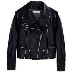 Golden Goose Deluxe Leather Biker Jacket (28.080.705 IDR) ❤ liked on Polyvore featuring outerwear, jackets, coats & jackets, leather jacket, pocket jacket, leather moto jackets, rider jacket, collar jacket and leather biker jacket