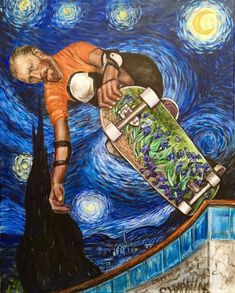 "Vincent Van Gogh shreds a pool! ""Gogh Big"" by Travis Chapman Art - Pool skater -. - Vincent Van Gogh shreds a pool! ""Gogh Big� by Travis Chapman Art – Pool skater – skateboard - Vincent Van Gogh, Acid Art, Skate Art, Photocollage, Hippie Art, Skateboard Art, Bob Ross, Art And Illustration, Psychedelic Art"