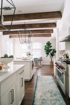Home Interior Design Kitchen Ceiling Treatment Beams Were Added To Give - Ceiling Decorations Home Decor Kitchen, Rustic Kitchen, Interior Design Kitchen, Kitchen Furniture, New Kitchen, Home Kitchens, Cheap Kitchen, Rustic Furniture, Luxury Furniture