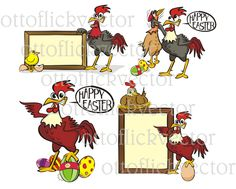 HAPPY EASTER VECTOR clipart, chicken, hen, chick rooster cartoons eps, ai, cdr, png, jpg for print, design, cards, funny farm animals by ottoflickvector on Etsy