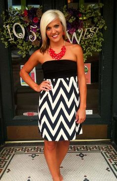 GameDay Chevron shown in Black/White. $38.99.  Add a statement necklace and you're all set! | 105 West Boutique (Abbeville, SC)
