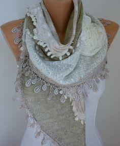 Fabric Knitted Lace Scarf - Plush Shawl Scarf Flower Scarf - Cowl Scarf - Beige