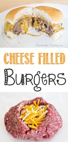 You want to try this!  Cheese Filled Burgers with Barbecue Ranch Dressing.  Bite into this burger that is loaded with cheese - it will be your new favorite!  YUM!