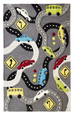 """$369 Rugs USA Cradle Roads Grey Rug """"used this for an art project for the kids... They traced the roads with black crayons then used a car stamp to make the cars on the roads..."""" AF"""