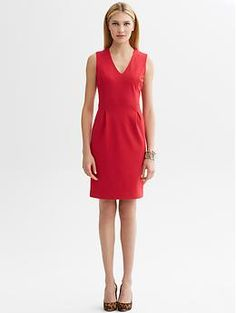 Ponte knit v-neck sheath | Banana Republic **I got this dress at the store on final sale + 40% off for $18 :) best deal ever.