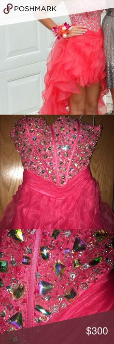 Coral high low prom dress Coral high low strapless with a sweetheart neckline prom dress with a corset back adjustable for comfort Juliet Dresses Prom