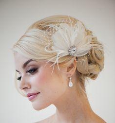 Bridal Fascinator Feather Wedding Headpiece by PowderBlueBijoux