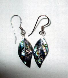 EARRINGS - INLAY - ABALONE - leaf  -  Estate Sale - 925 - Pierced - fish hook - Sterling Silver earrings 302 by MOONCHILD111 on Etsy https://www.etsy.com/shop/MOONCHILD111