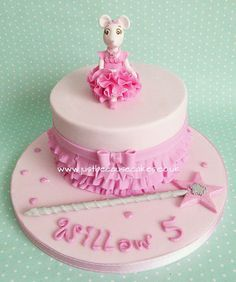Angelina Ballerina birthday cake complete with pink ruffles and a special star magic wand!