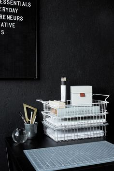 This stylish stackable wire letter tray in white by House Doctor will help keep your home organised. It is a generous size and is perfect for storing papers and other stationery essentials. Letter tray measures: 34 X 27 CM, H: 8 CM Workspace Design, Office Workspace, Study Office, Office Interior Design, Home Office Decor, Office Interiors, Office Ideas, Office Organisation, Office Inspo