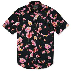 Buy the Gitman Vintage Flamingo Flower Short Sleeve Shirt in Black from leading mens fashion retailer END. - only Fast shipping on all latest Gitman Vintage products. Cool Outfits, Casual Outfits, Tomboy Outfits, Casual Shirts For Men, Men Casual, Floral Print Shirt, Floral Shirts, Colorful Shirts, Flower Shorts