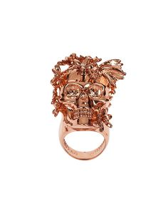 Alexander McQueen Jewelry   Rose Gold Crystal Butterfly Skull Ring