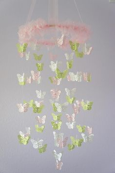 Nursery Mobile- Pink, Green, & White Butterfly Mobile