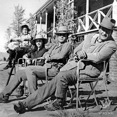 Family time on the set of McLintock! (1963): Aissa, Pilar, Patrick and John Wayne. The movie was produced by son Michael making a work day feel more like a family reunion. #johnwayne