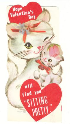 Vintage Valentine Card White Cat and Kitten Unused with Envelope Die Cut