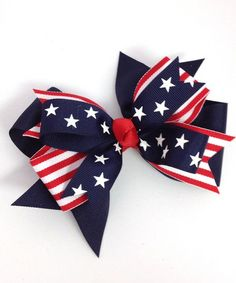 Navy & Red Stripes & Stars Layered Bow Clip by Fairy Bow Mother #zulily #zulilyfinds