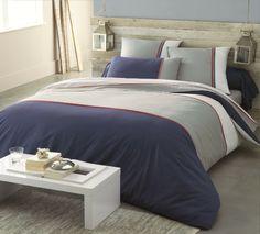 linge de lit eau style marin tete de lit en bois