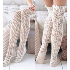 White Lace Knitted Stocking Pattern from Vogue....reasons why I should keep learning to knit!!
