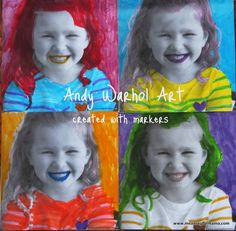 So cool! This Andy Warhol project for kids is done with black and white print outs of your child's picture, and it is colored with markers.