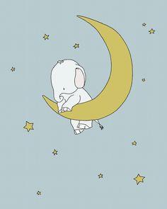 Elephant Nursery Art - Hold Onto Your Dreams - Elephant Holds Onto the Moon