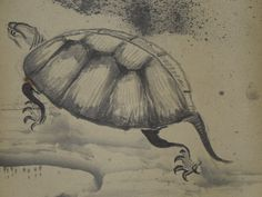 Hanging Scroll Japanese Painting Plague Tortoise Sumi E Kakejiku Asian Paper J10 | eBay