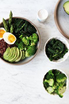 Green Goddess Bowl with quinoa, broccoli, asparagus, kale, and avocado