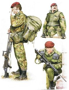 British Parachutists in Northern Ireland Private, 3rd Battalion, The Parachute Regiment  On a rural patrol, he wears the 1978 DPM parachutist's smock, and the matching cotton trousers—preferred to the synthetic fibre TMLs, which melt and stick to flesh when hit by petrol bomb splashes or tracer rounds. Webbing is '58 pattern, worn with the large Airborne pattern bergen rucksack. High-leg German paratrooper's boots, bought privately, are preferred to DMS boots. Hair is wo...