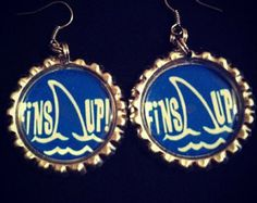 Jimmy Buffett Fins Up Earrings Handmade with Silver Tone Flattened Bottle Caps.