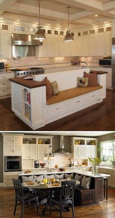 Built in benches usually are wonderful custom designs. They can be placed almost anywhere of your home – from a hallway wall to a backyard deck or even under the window. They are also great examples o Home Kitchens, Kitchen Remodel, Modern Kitchen, Country Kitchen, New Kitchen, Home Decor Kitchen, Kitchen Interior, Interior Design Kitchen, Kitchen Seating