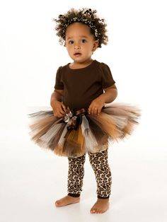 Tutu Skirt - Leopard Cheetah Cat Halloween or Birthday Costume - Brown & Black - Fancy Feline - 5-6 Youth Girl. $35.00, via Etsy.