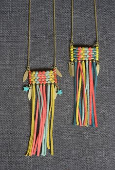 Shop Before-After 29 rue Foch Montpellier necklace skin Tassel Jewelry, Textile Jewelry, Fabric Jewelry, Leather Jewelry, Leather Craft, Jewelery, Leather Tassel, Braided Leather, Fabric Beads