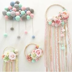 I like that pompom cloudPin by Ann Westby on MacrameBaby girl nursery decorations created with love, passion and care for details.Try using braided yarn instead of ribbon for tassels on embroidery hoop dream catcher.No photo description available. Baby Crafts, Diy And Crafts, Crafts For Kids, Stick Crafts, Simple Crafts, Macrame Projects, Diy Projects, Diy Bebe, Diy Tumblr