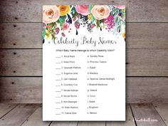 editable baby shower games, instant download #babyshower #baby  celebrity baby name game