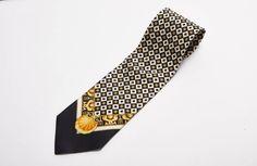 black white + gold silk tie by versus gianni versace vintage 1990s • Revival Vintage Boutique by RevivalVintageBoutiq on Etsy
