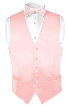Biagio Men's Solid LIGHT PINK SILK Dress Vest Bow Tie Set