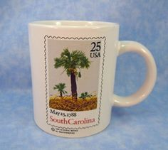 Collectible Mug Honoring the Introduction of the South Carolina 25 Cent Stamp Commemorating its Statehood by RichardsRarityRealm on Etsy