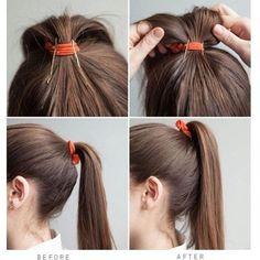 #hairhack! If you pin your bobbypins like this; you'll avoid a saggy ponytail  #genius #hack #diy #tutorial #idea #bobbypin #hair #hairdo #girlie #girliehair #likeforlike #followforfollow