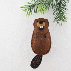 Felt Beaver Ornament PATTERN Sewing Pattern Felt Beaver