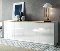 Buffet 2 portes 4 tiroirs en bois laqué blanc piètement chêne ...