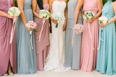 Blush and Dust Blue Bridesmaid Gowns |  http://brideandbreakfast.ph/2015/05/13/ever-effortless/ | Photo: J Lucas Reyes
