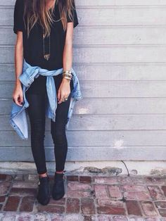 Black shirt jeans blouse