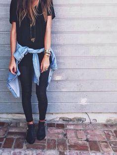 Black shirt jeans blouse