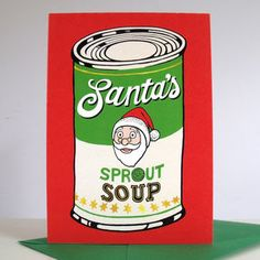 'Santa's Sprout Soup' Pack Of Six Christmas Cards