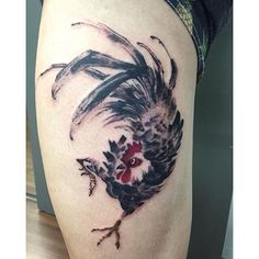 Brush Rooster done by @tattoos_by_simon13  #borneoink #iwasborneoinked #tattoo…