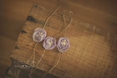 Natural jute yarn, layered lavender flower, lace