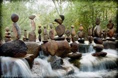 """As it turns out, you don't need sleight of hand or even mud to design gravity-defying cairns. You do need a bit of patience, though, and a knack for """"knowing the rocks,"""" according to Michael Grab, an land artist who has been balancing rocks since 2008. He builds his sculptures with rocks from the natural landscape, usually alongside water."""