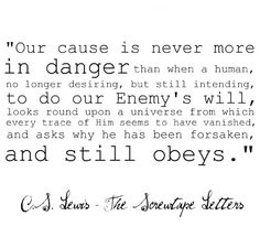 cs lewis the screwtape letters since the screwtape letters are suppose to