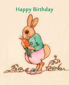 Mr Rabbit Happy Birthday 1930s Vintage Digital by poshtottydesignz